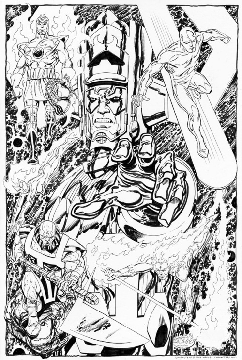 Galactus and his heralds - Silver Surfer, Firelord, Terrax, Nova & Air-Walker commission by John Byrne. 2008.