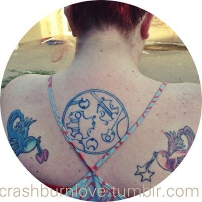 "crashburnlove:  My circular gallifreyan tattoo. It says ""Be not afraid of greatness"" (Shakespeare)  It's a reminder to stop thinking about what things could be like and start thinking of what I can do to make things happen.  i love my friends <3"