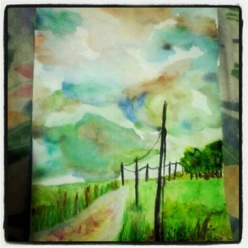 31/12/2012  #art #watercolor #landscape  #trees #light #sky  #Hong Kong art