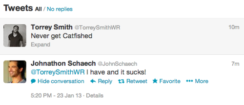 Johnathon Schaech has been catfished, according to his Twitter reply to Ravens WR Torrey Smith. (Schaech and I both grew up in Harford County, Md., which explains our shared football loyalty.) God, I love everything about this.