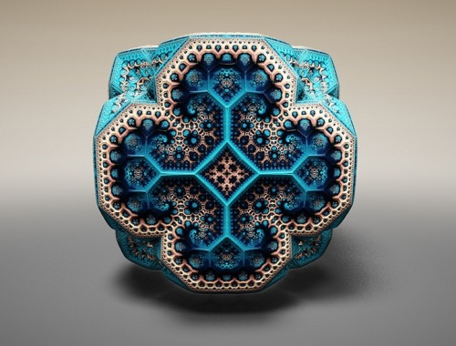 The fractal sculptures of Tom Beddard are like mathemagical Fabergé eggs. Anyone else seeing images of quasicrystals and Arabic tile mosaics in these? Beautiful science-informed art. WOWWOWwow (<—- fractal wow-ness) (via MyModernMet)