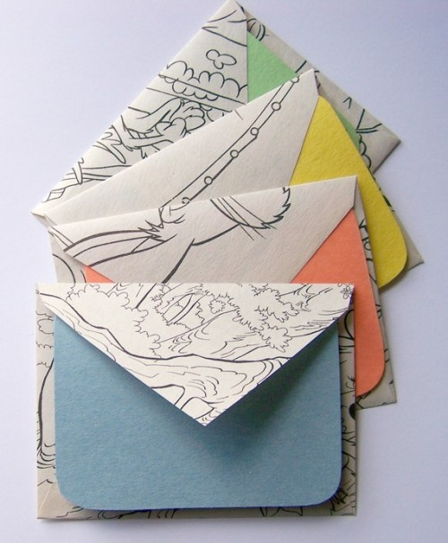 etsy:  Coloring Book Pages Stationery by MiniHaus.