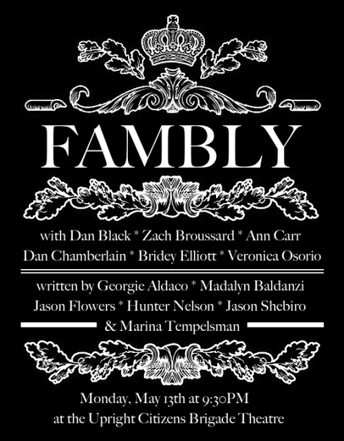 "Monday night, an all new Fambly; a brand new day. Reserve.  If you're in New York City and like sketch comedy by funny ""girls (and boys) who just wanna have fun"" — Lauper, …then GO TO THIS SHOW!"