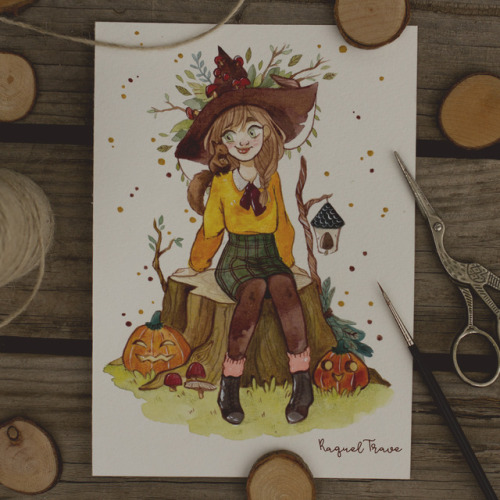 31witches inktober ink inktober2017 inktoberlist watercolor autumn witch seasonalwitch day1 day1inktober illustration traditionalart pumpkin art drawing sketch sketchbook