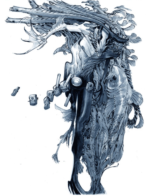 "ericcanete:  'ABE SAPIEN' - [27.9 x 35.6cm/11 x 14"" - blue pencil, brush & technical pen, COPIC marker on 100lb/300series bristol board]"