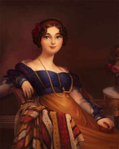 Snow White by *JessiBeans. Madame Jacques Louis Leblanc by Jean Auguste Dominique Ingres (1780-1867).