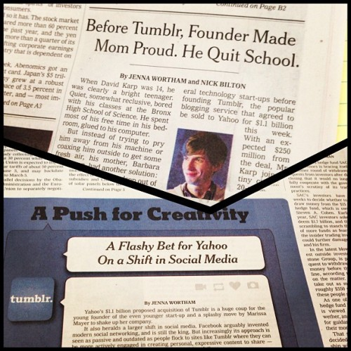 In today's NYT: A1 & B1 stories on Tumblr's billion dollar deal with Yahoo  (at New York Times Building)