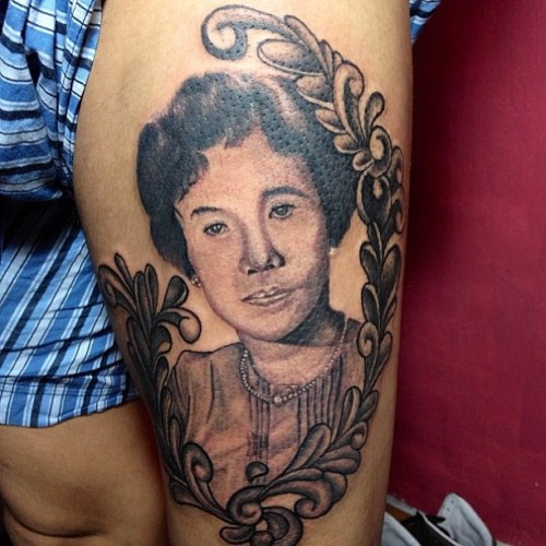 Beautiful portrait tattoo by Myke Sambajon. Come and visit us anytime at any P&P Tattoo branches Makati • Eastwood • Boracay and/or send us e-mails at pandptattoo@yahoo.com #pandptattoo #skinbling #tattoophilippines #skinart #portraittattoo #inked #tattoo #tattoos #tattedup
