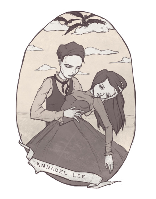 "Hey guys! Did a lil' Illustration for the poem ""Annabel Lee"" by Poe. If you haven't read it, she dies. Probably from pneumonia. Fucked up, I know, but what can ya do? Draw about it."