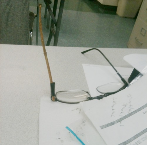 a guy in class just broke his glasses and replaced it with a twig