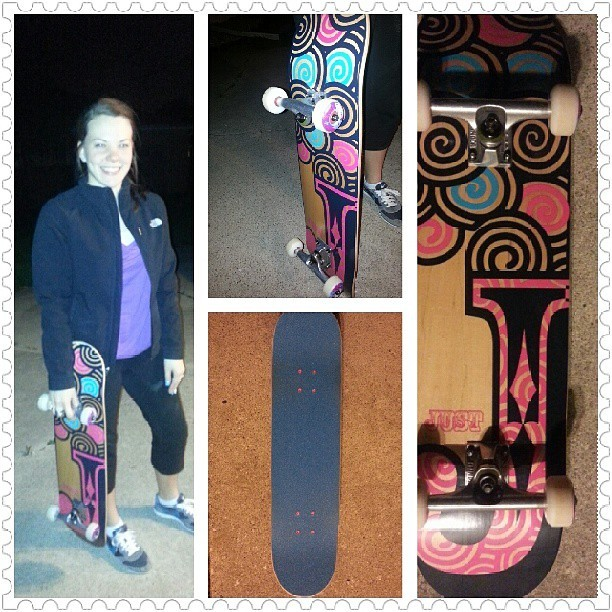 @jonbradford surprised me with my own adorable skateboard! :) He's gonna teach me how to not die on this thing. #newbie #nothinglikesnowboarding #excited #skateboarding #blueandpink #myhubbysthebest #justskateboards