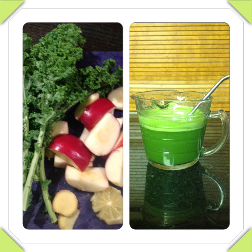 Kale, apple, lemon and ginger juice .
