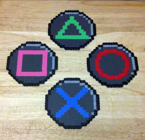 "PlayStation button coasters!""A set of coasters made to look like pixelated PlayStation controller buttons made from Perler Hama and Nabbi fuse beads""By RoninEclipse2G"