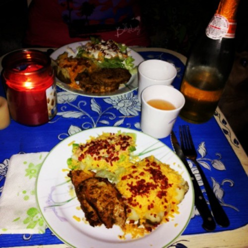 A candle lit dinner. :) very romantic. P.S. If you look hard enough you can see Mabel