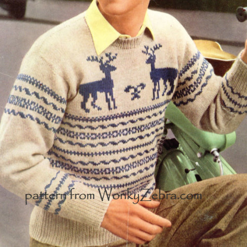 Reindeer Knitted Sweater Pattern Vintage PDF 281 by wonkyzebra