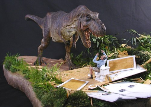 jurassiraptor:  When ya gotta go, ya gotta go Jurassic Park diorama created from original Horizon T. rex model kit with custom modifications and props by Mike Wallace. Shared by Julien at Jurassic Park: Origins.