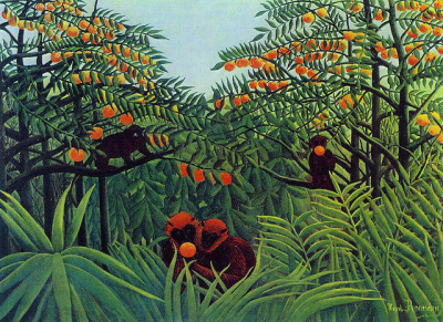 asunosinwa:  Henri Rousseau: Apes in the orange grove (1910) by petrus.agricola on Flickr.