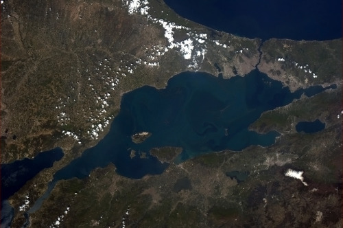 colchrishadfield:  The Sea of Marmara, Turkey. Macro scale water flow visualization.  Hey there, home. You look pretty from high above.