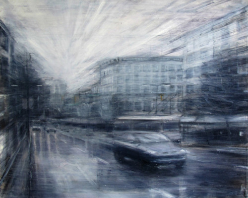 "iantangallery:  Mark Boyko East Hastings, 2012, Oil on Canvas, 48 x 60"" Mark Boyko's canvasses are forcefully immersive and strikingly beautiful to look at. They are especially successful when seen in person and on a large scale. With elongated brushtrokes bursting from a strong vanishing point, Mark invites the audience into his bleary Vancouver landscapes. Despite their monochromatism, the paintings have an energy which breathe both inwards and outwards, sometimes highlighted by a single stroke or fleck of pale colour. A student of world-renowned superstar artist Alessandro Papeti, Boyko, fortunately for us, has translated this painting technique to capture his hometown of Vancouver in an aesthetic language that depicts space as emotion rather than description."