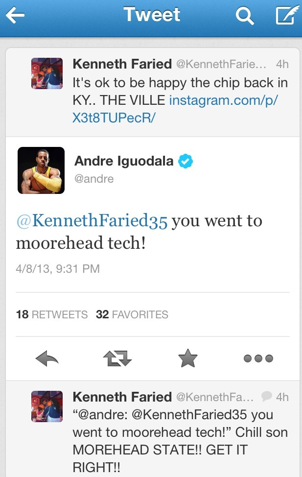 Andre Iguodala was on fire on Twitter tonight.