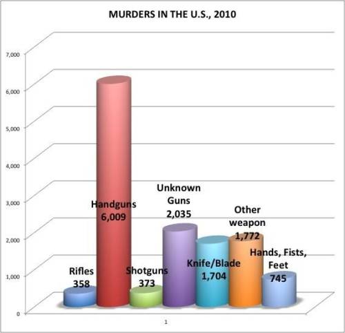 "talkstraight:  More Murders In The US Committed By Hands, Feet And Fists Than By ""Assault Rifles"" As you can see in the chart pictured above, the vast majority of murders in the U.S. are committed with handguns, not rifles. More people were killed with shotguns (373), knifes/blades (1,704) and ""other weapon[s]"" (1,772) more often than they were with rifles in 2010, which were reportedly used in 358 murders that year. Hands, feet and fists accounted for 745 murders in 2010 while rifles were responsible for only 358. Wonder when the leftists will call for a ban on human extremities.  Well, I better register both my fists and feet with the ATF because they're considered deadly weapons."