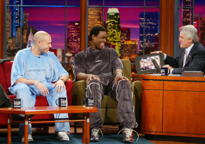 Mike Bibby and Chris Webber hangin' with Jay Leno… The early 2000's were weird.