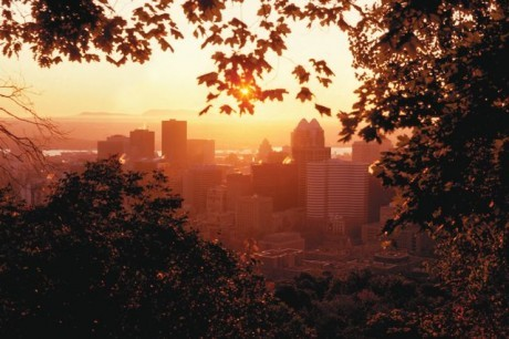 The sun rises over downtown Montreal, Quebec