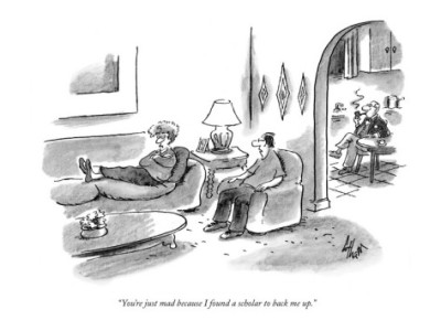 "(via ""You're just mad because I found a scholar to back me up."" - New Yorker Cartoon Poster Print by Frank Cotham at the Condé Nast Collection)"