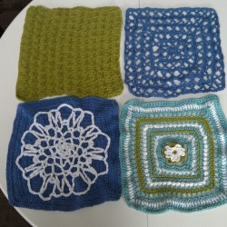 First 4 squares of my #chainreaction #afghan. Thanks for teaching me #crochet @laurelleaves :)