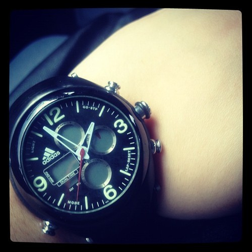 Ssssh using dad's watch. Big watch is love :)    #adidas #watch #big #love #like #ootd #black #igers #igersasia #igdaily #instamood #instagood #webstagram #fashion #tweegram