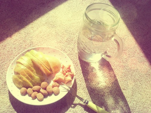 Snack: Pear, Almonds and Peanut Butter; Water
