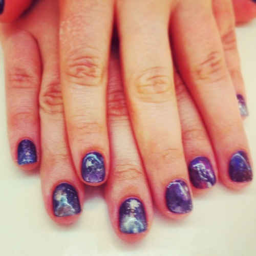 Went all outer space for my sxsw manicure. Galaxy nail art from primp and polish, Williamsburg, brooklyn.