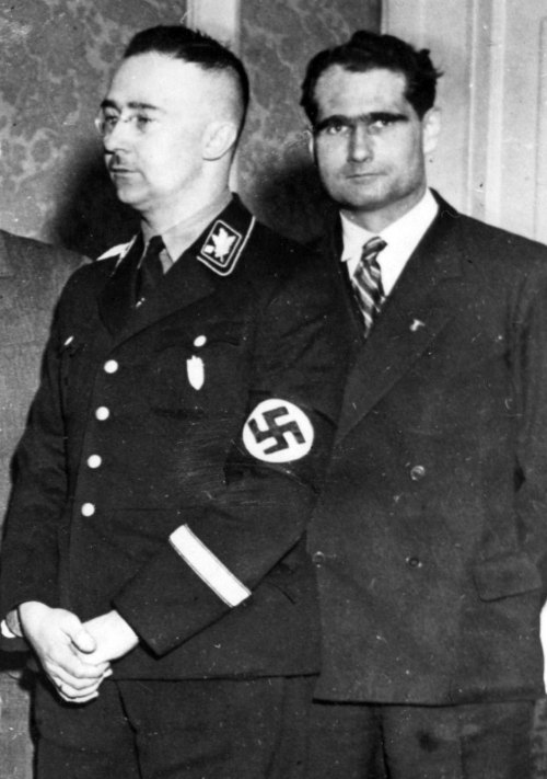 rfssheinrichimmler:  Great image of Hess and Himmler   Herr Himmler looks soooooo good in this one. I would like to ask him for an autograph~!