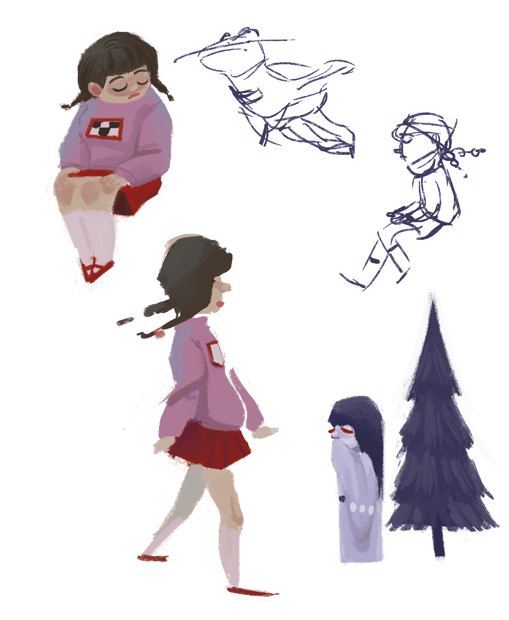 Yume Nikki colored doodles from a month ago when I started planning, uuh, a *secret* Yume Nikki zine project.  Still workin' on it, hehhhe..