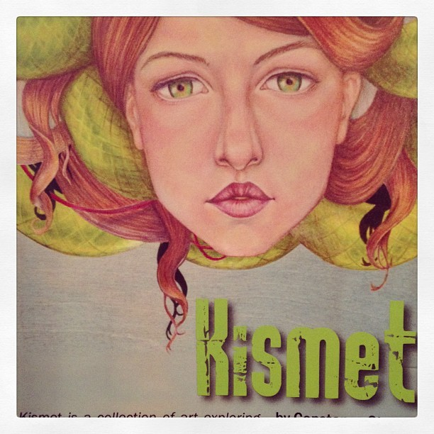 "Last week to see my ""Kismet"" show!  I'll be there today if you want to stop by. Gallery is open 12-7 today. #constantlyconstance #galleryshow #blackbirdstudio #colorpencil #drawing"