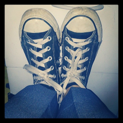 Rocking ratty #chucks even when I'm supposedly rocking a prim and proper look.
