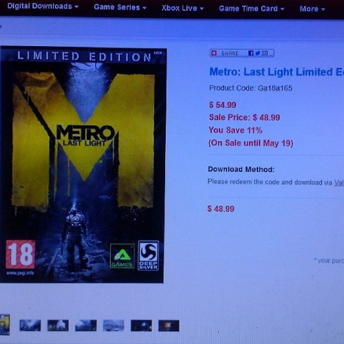 #MetroLastLight #LimitedEdition for only $48.99 on my #gamefanshop www.gamefanshop.com/partner/HDFinch #videogames #gaming #PCgaming