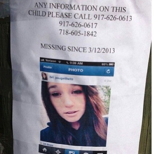 amandamazzola:  My heart is broken right now. If anyone has seen Brianna, contact her family immediately. #missing #statenisland