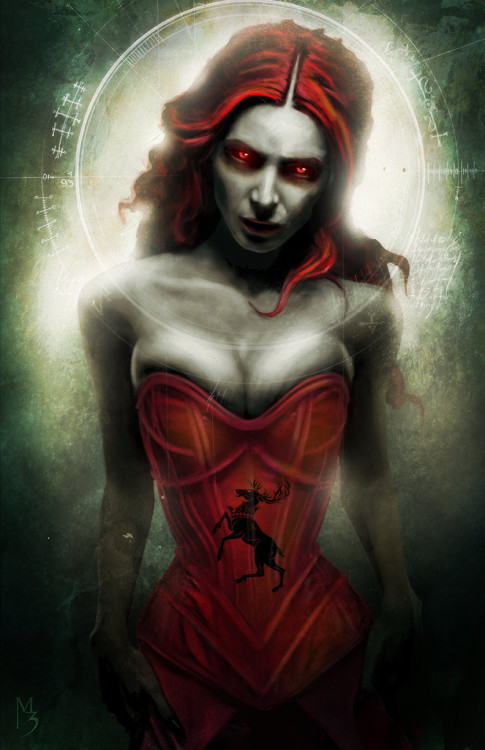 menton3:   Melisandre of house Baratheon. ( Game of thrones )  11x17 limited paper print for C2E2.  Available till  April 26 http://menton3.bigcartel.com/