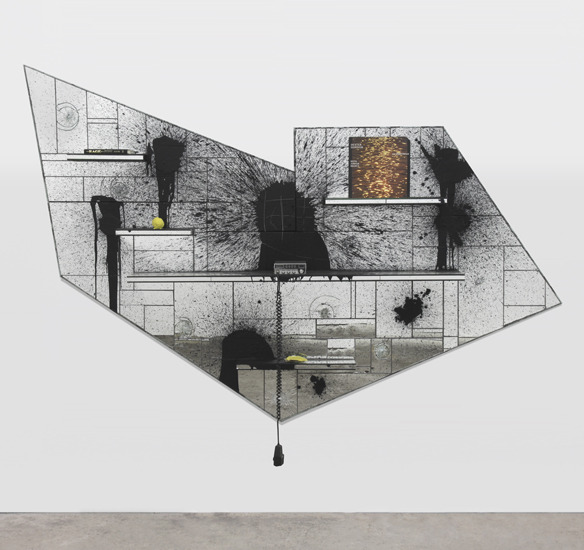 Rashid Johnson (b. 1977)Magic Hour, 2012 mirrored tile, black soap, wax, shea butter, oyster shell, vinyl, book, cb radio 72.5 x 96.5 x 11.75 inches