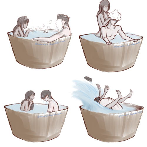 "bluerabu:  Makorra: Rub-a-Dub-Dub, Chump (right-click, view image for better quality) Mako is not sure why he agreed to taking a bath with Korra again. Also, HOW DRAW BUBBLES URGH I can hear Mama Mako's thoughts: ""Korra, what aRE YOU DOING? YOU DO NOT SCRUB HUMAN HAIR THE SAME AS POLAR BEAR DOG FUR MY HEAD IS GONNA FALL OFF SWEET SPIRITS."" And Korra apparently doesn't know what she's doing either. SURPRISE RINSE CYCLE. Because 5 seconds of wet Mako hair in episode 7 was not enough. …I need more wet-haired men in my life ._. Finally Mako remembers why he enjoys bathtime with Korra. REVENGE. Glad I got that out. There will eventually be a one-shot out that is semi-related to this series of bathtiemz!Makorra."