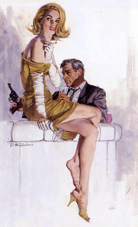 20th-century-man:  Illustration by Robert McGinnis.  The original cover art for Robert Kyle's Kill now, pay later.