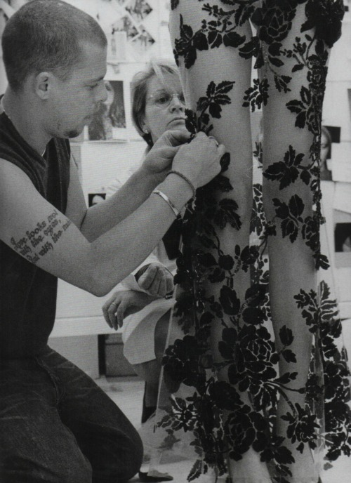 deauthier:  Lee Alexander McQueen in the atelier for Givenchy Haute Couture S/S 2000, photographed by Anne Deniau