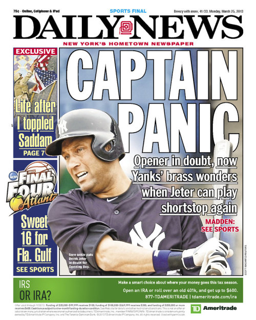 Worries about Jeter and the Yankees are front page news in NY (Photo via Newseum)