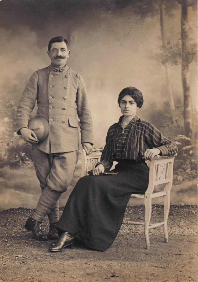 Studio Portrait of Couple from Parisian Studio, France, date unknown. (via Poppies Pressed)