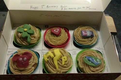 he also made me some cup cakes with memories from the year on it. okay soppy posts done now I just wanted to show how cute my boyfriend is.