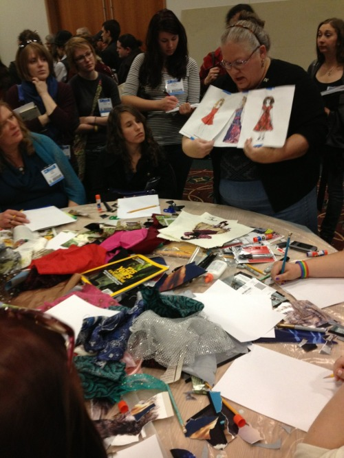 Costume Design and Rendering - Hands-On Workshop @ USITT Milwaukee During this workshop students learned a variety of tips and tricks for rendering costume designs. My favorite ten minute session was about using collage to express ideas quickly and efficiently before getting too detail specific.
