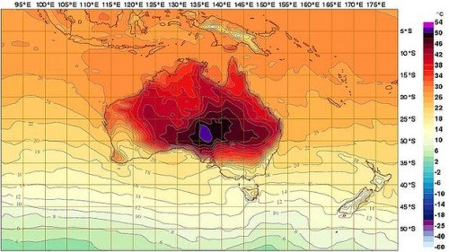 Temperatures have changed so much in Australia, that the country's weather service had to increase the size of it's thermometer. Australia, now in summer time, is experiencing a record heat wave that's scorching the land, causing brush fires, habitat destruction, and loss of human life. Around 100 people have died this year from bush fires in Australia (a 'bush fire' about the same as a 'wildfire' in the U.S.). So severe is the heat that the Bureau of Meteorology had to update its mapping system to accommodate very high temperatures. They've added two new colors to their range of their temperatures, purple and pink. Previously, the map was capped at black, which represented the highest temp at 50c. But temperatures are breaking records on a near daily basis, regularly exceeding those highs. (In fact, climate scientists have warned officials that Australia should prepare for even worse temperature swings.) You can see the two added colors on the graph on the right of this map.  Read more: SMH.COM.AU