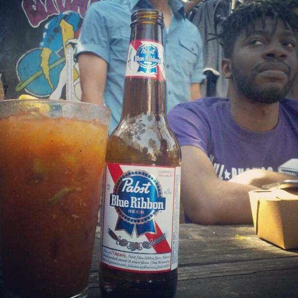 Bloody Mary and a PBR. #perfect #sunday guest appearance by @norm_robinson  (at Zeitgeist)