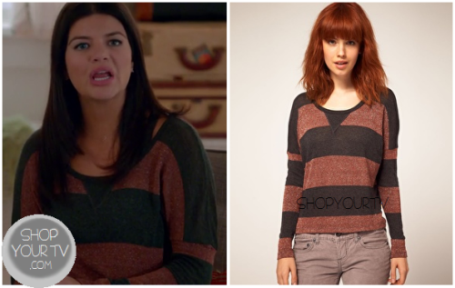 Penny Hartz (Casey Wilson) wears this brown striped pullover in this week's episode of Happy Endings.It is currently sold out :(